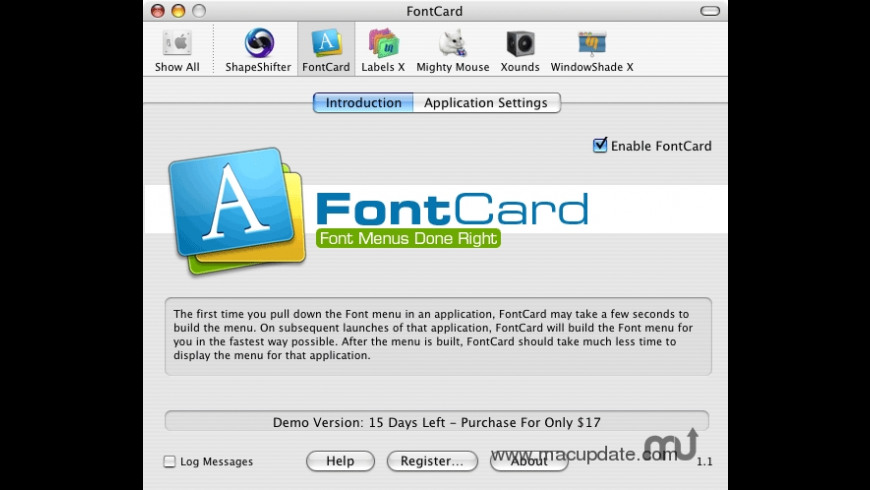 FontCard for Mac - review, screenshots