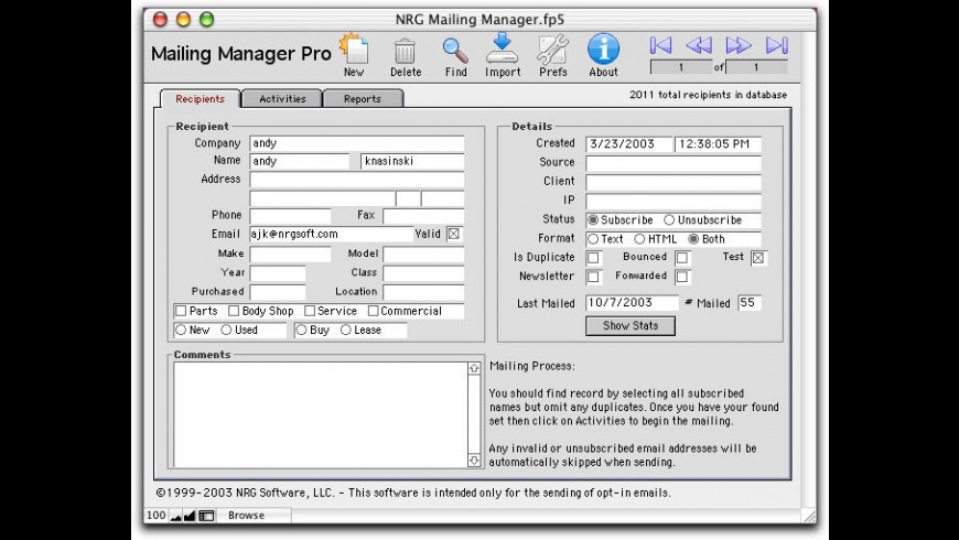 NRG Mailing Manager for Mac - review, screenshots