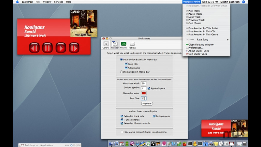 QuickTunes for Mac - review, screenshots