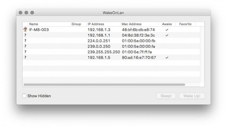 WakeOnLan for Mac - review, screenshots