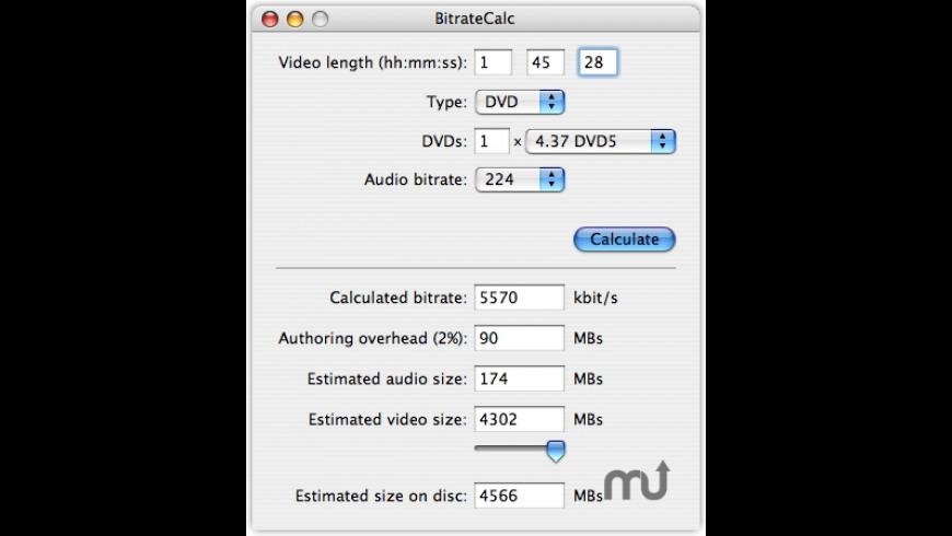 BitrateCalc for Mac - review, screenshots