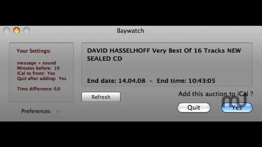 Baywatch for Mac - review, screenshots