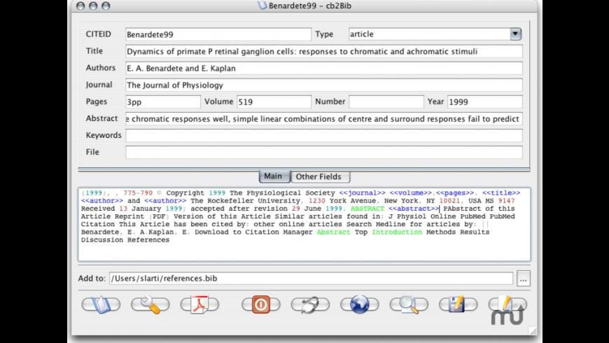 cb2Bib for Mac - review, screenshots