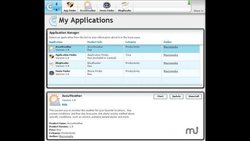 Macromedia Central for Mac - review, screenshots