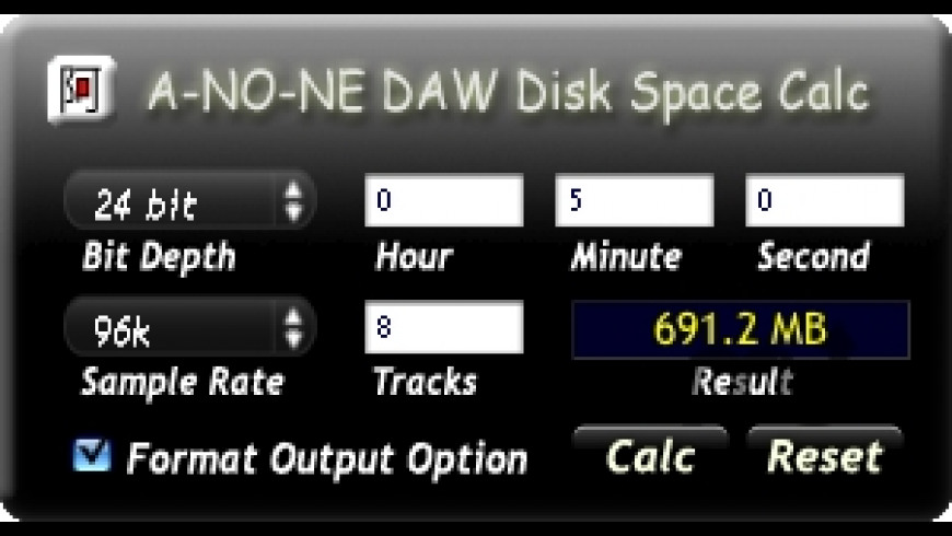 DAW Disk Space Calc for Mac - review, screenshots