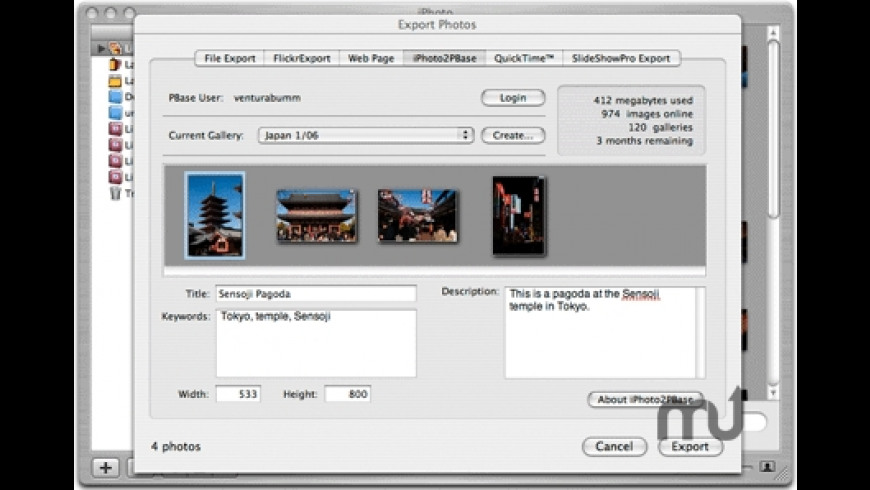 iPhoto2PBase for Mac - review, screenshots