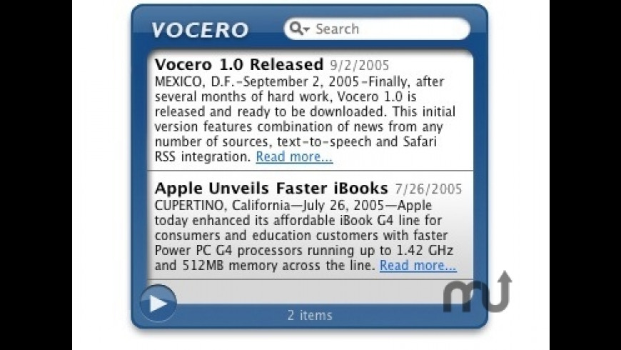 Vocero Widget for Mac - review, screenshots