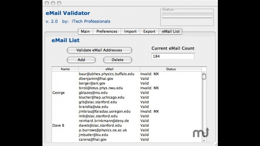 eMail Validator for Mac - review, screenshots
