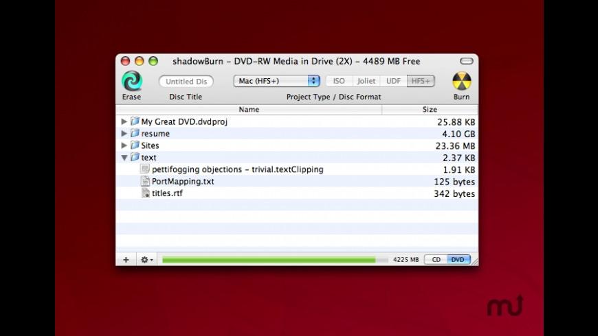shadowBurn for Mac - review, screenshots
