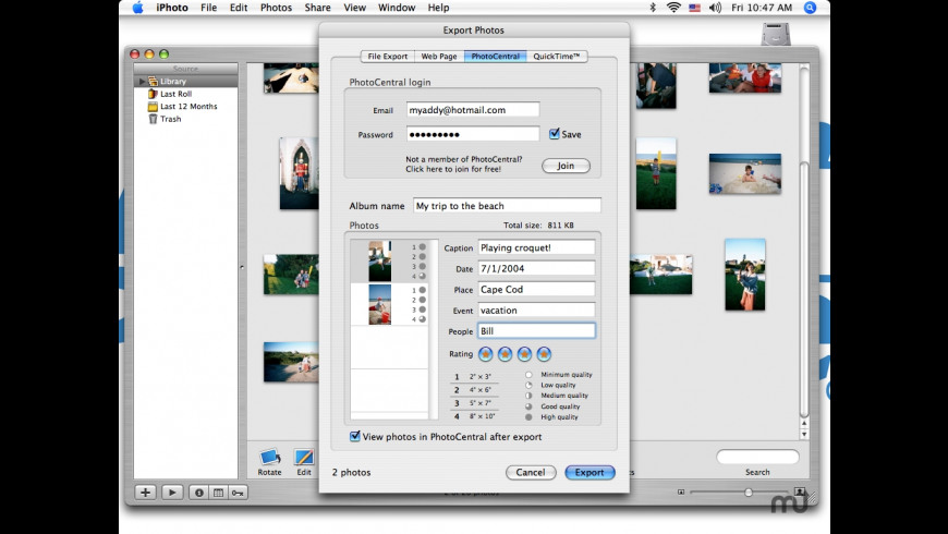 PhotoCentralExport for Mac - review, screenshots