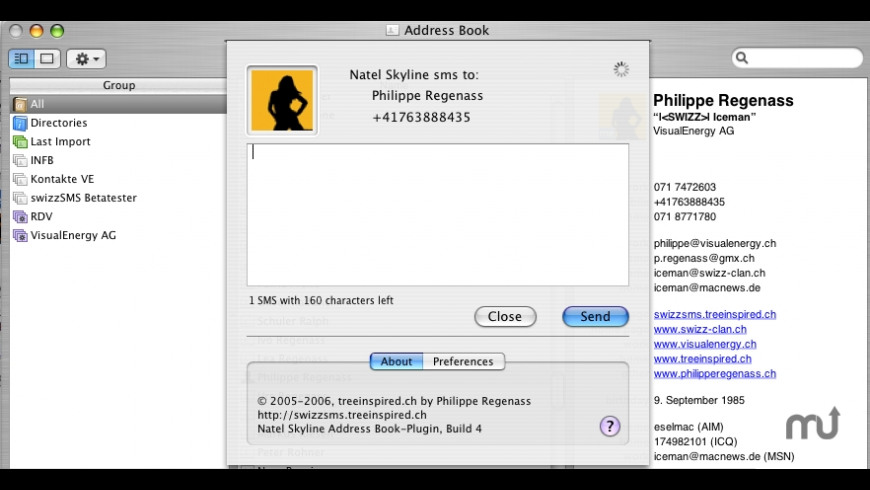 Address Book plugin for Natel Skyline SMS for Mac - review, screenshots