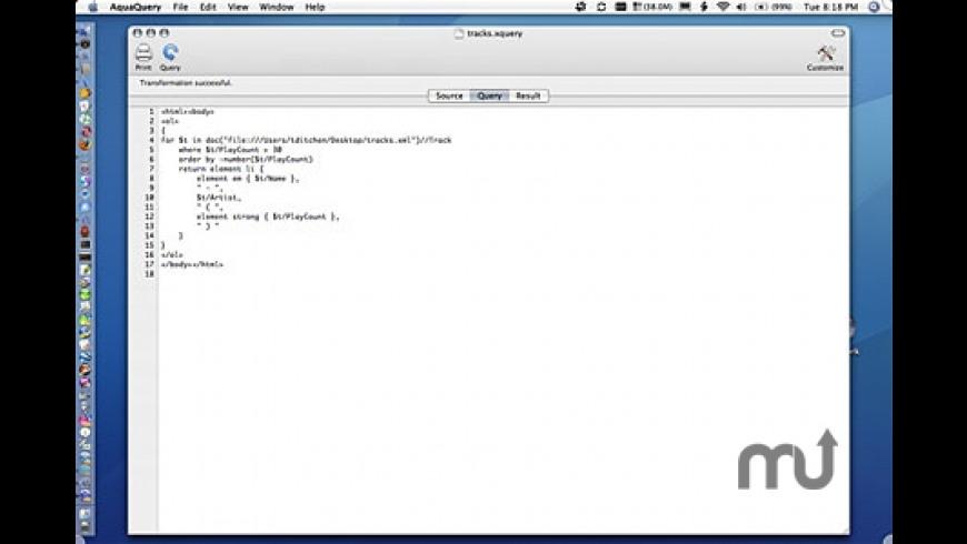 AquaQuery for Mac - review, screenshots
