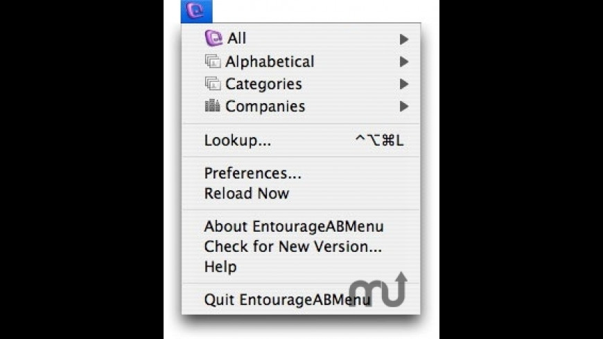 EntourageABMenu for Mac - review, screenshots