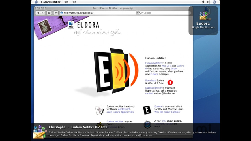 Eudora Notifier for Mac - review, screenshots