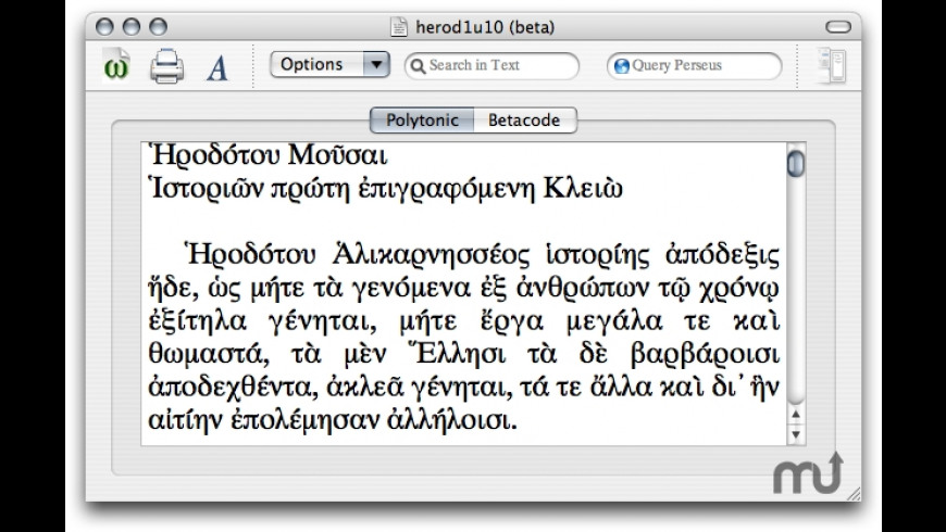 UniGreek for Mac - review, screenshots