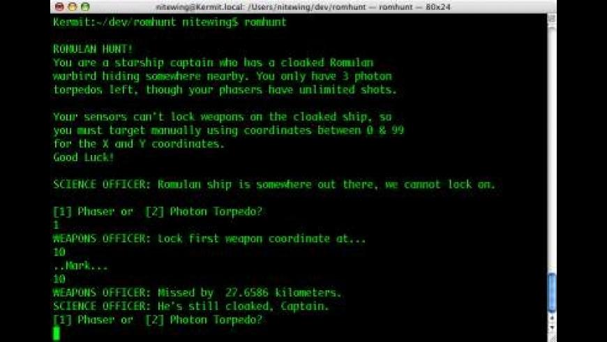 Romulan Hunt (Command Line) for Mac - review, screenshots
