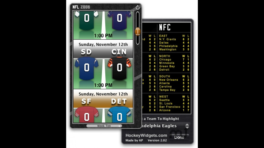 2006 NFL Widget for Mac - review, screenshots