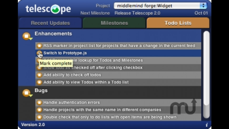 Telescope Basecamp Widget for Mac - review, screenshots
