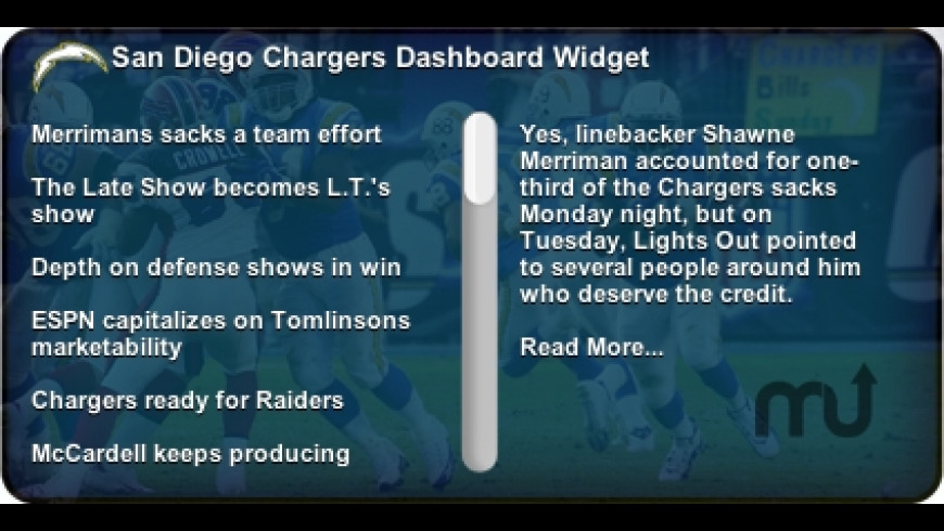 San Diego Chargers Widget for Mac - review, screenshots