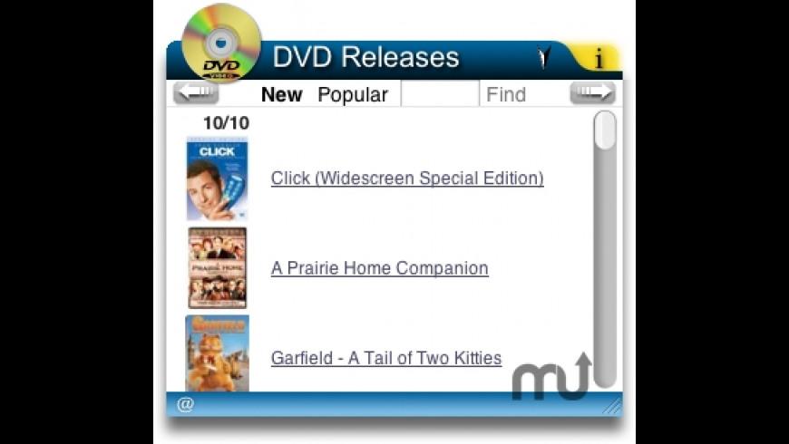 DVD Releases Widget for Mac - review, screenshots
