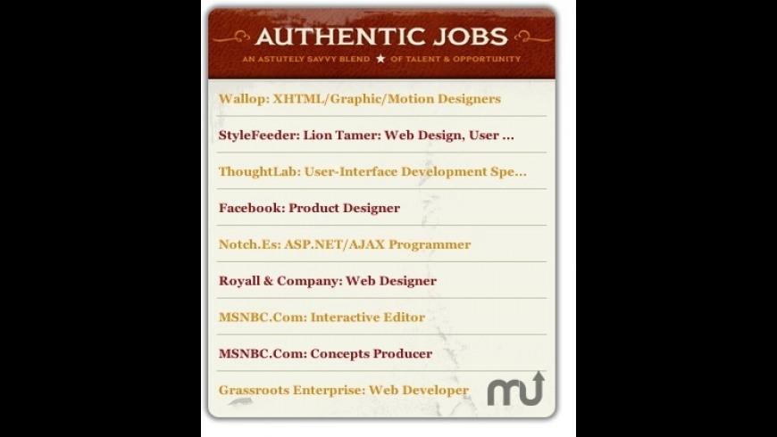 Authentic Jobs Widget for Mac - review, screenshots