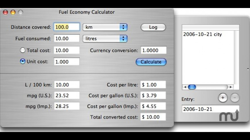Fuel Economy Calculator for Mac - review, screenshots