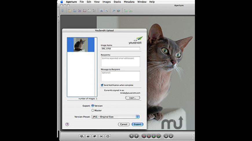 YouSendIt Aperture Export Plug-in for Mac - review, screenshots