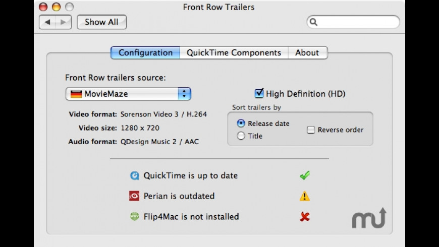 Front Row Trailers for Mac - review, screenshots
