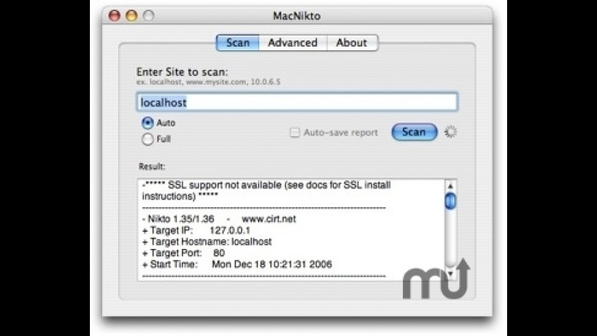 MacNikto for Mac - review, screenshots