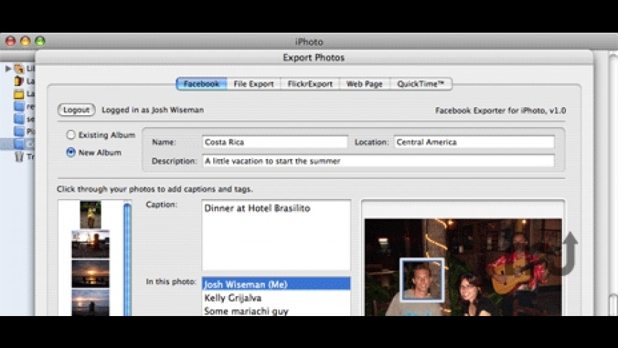 Facebook Exporter for iPhoto for Mac - review, screenshots
