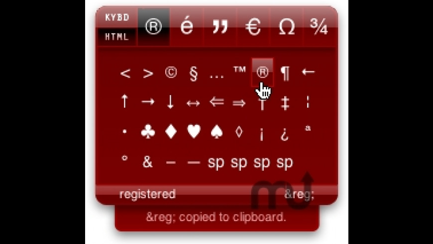 Symbol Caddy for Mac - review, screenshots