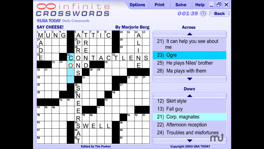 Infinite Crosswords for Mac - review, screenshots