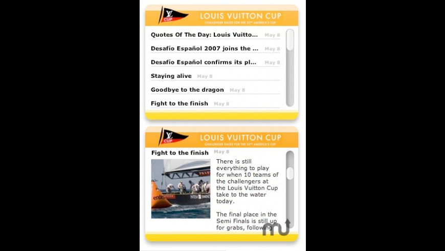 America's Cup RSS Widget for Mac - review, screenshots