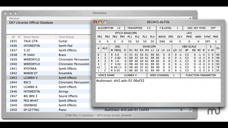 DX7 Librarian for Mac - review, screenshots
