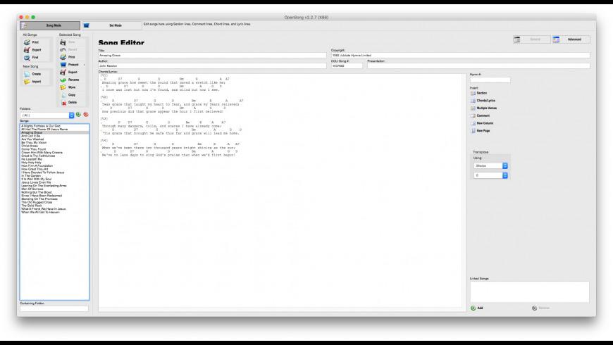 OpenSong for Mac - review, screenshots