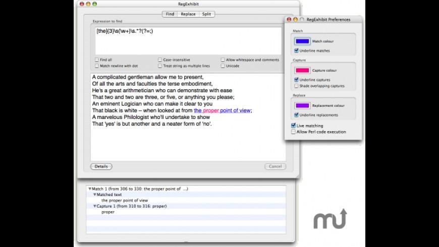 RegExhibit for Mac - review, screenshots