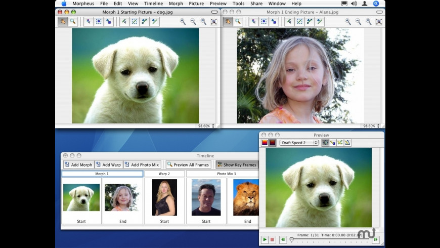 Morpheus Photo Animation Suite for Mac - review, screenshots