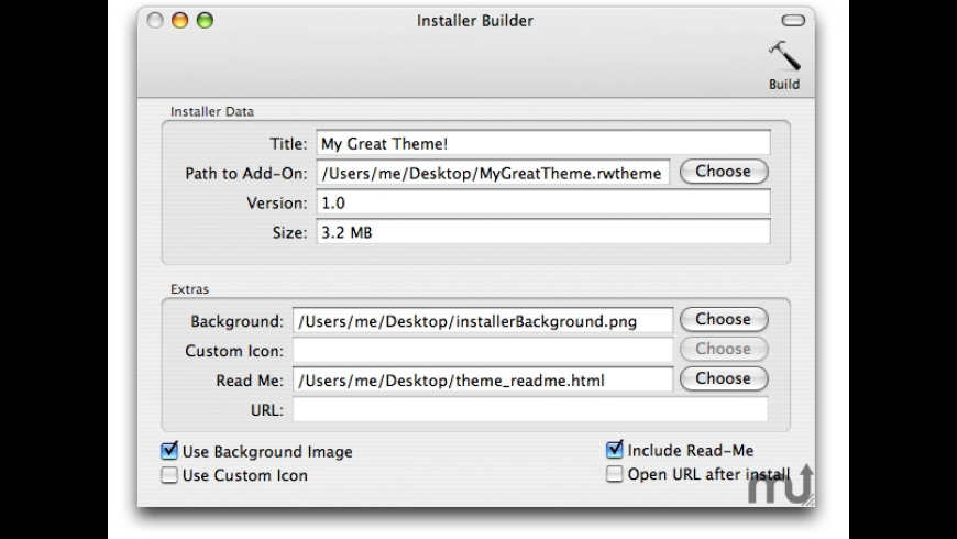 Theme Installer Builder for Mac - review, screenshots