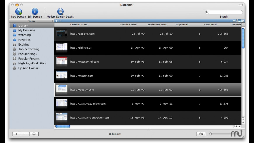 Domainer for Mac - review, screenshots