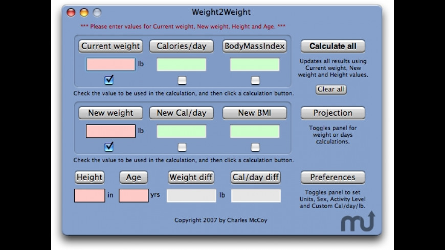 Weight2Weight for Mac - review, screenshots