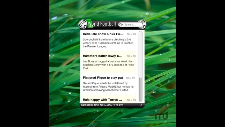 World Football Widget for Mac - review, screenshots