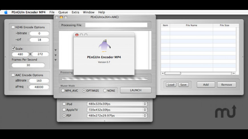 PEnGUIn Encoder MP4 for Mac - review, screenshots