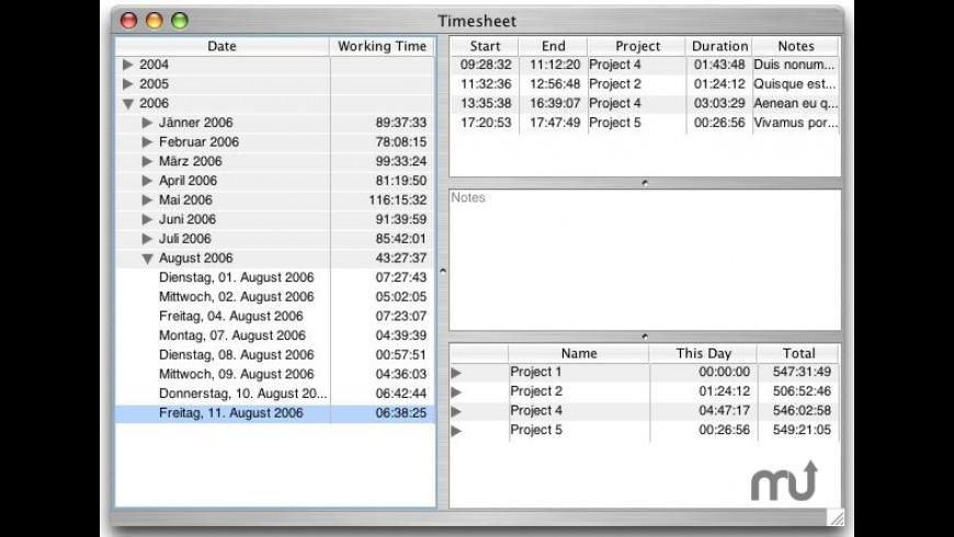 Timesheet for Mac - review, screenshots