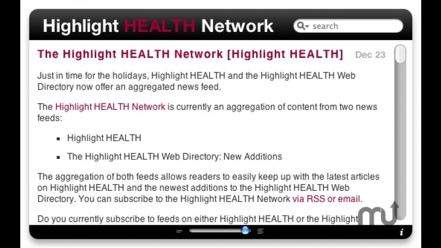Highlight HEALTH Network RSS for Mac - review, screenshots