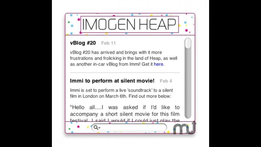Imogen Heap Widget for Mac - review, screenshots