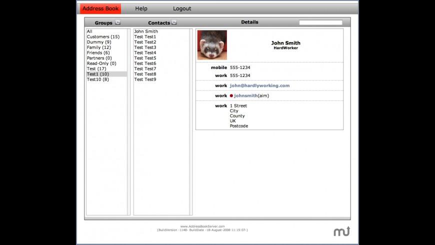 Address Book Server for Mac - review, screenshots