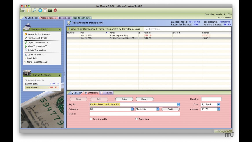 MyMoney for Mac - review, screenshots