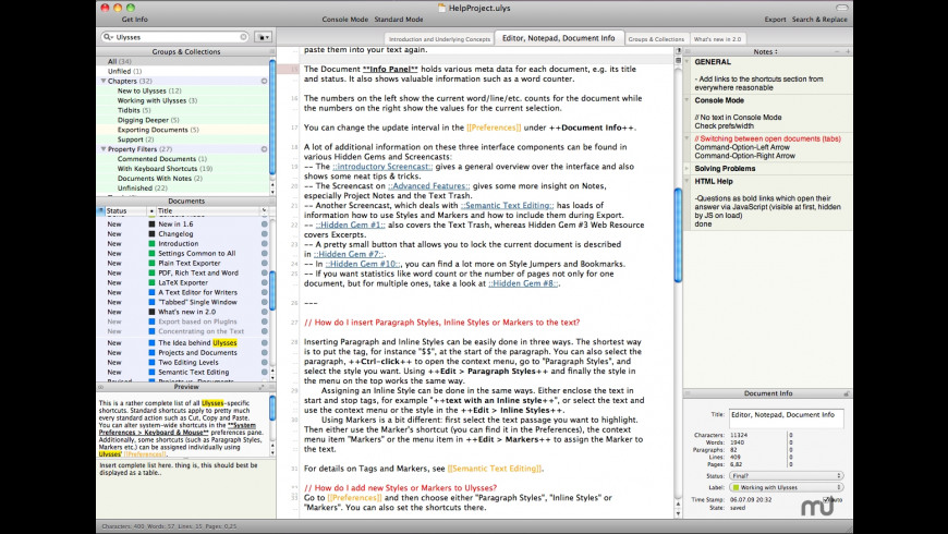 Ulysses core for Mac - review, screenshots