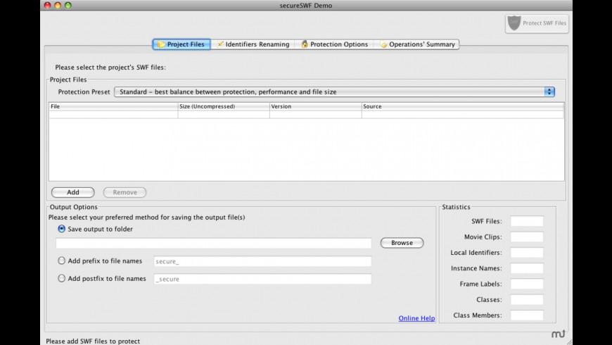 secureSWF for Mac - review, screenshots