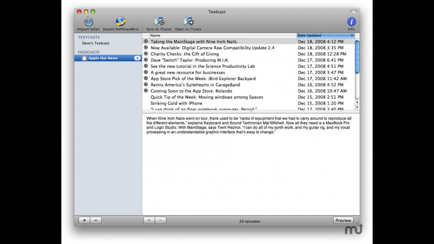 Textcast for Mac - review, screenshots